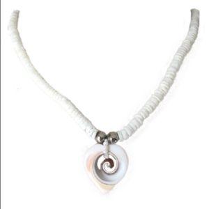 Hawaiian Puka Seashell Heart Pendant Necklace